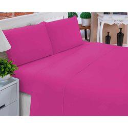59255b87ff Jogo de Lençol Casal Padrão Liso Pati 04 Peças Tecido Microfibra - Pink
