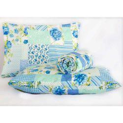 Jogo de Lençol Casal Queen Marina 03 Peças Tecido Misto - Patchwork Azul