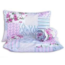 Jogo de Lençol Casal Queen Marina 03 Peças Tecido Misto - Floral Rosa/Azul