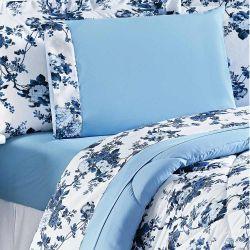 Jogo de Lençol Queen Murano 150 Fios 04 Peças - Floral Azul