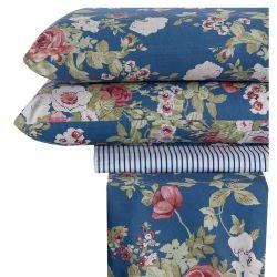 Jogo de Lençol Casal Padrão Cerato 04 Peças 150 Fios Estampado - Floral Azul
