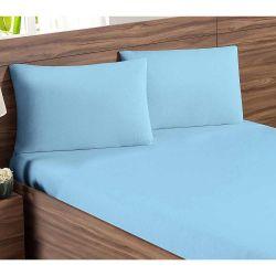 Jogo de Lençol Casal Padrão Soft 03 Peças Liso Tecido Malha Penteada 30/1 - Azul