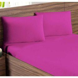 Jogo de Lençol Casal Padrão Soft 03 Peças Liso Tecido Malha Penteada 30/1 - Pink