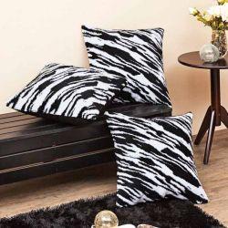 Kit 03 Almofadas Cheias Pelúcia Estampado - Zebra