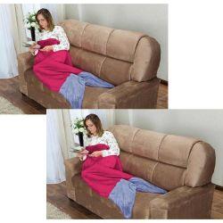 Kit Cobertor Adulto Calda de Sereia Saco de Dormir 02 Peças (Toque Aveludado) - Pink
