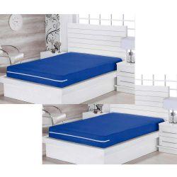 Kit de Capas para Colchão Solteiro Lipe 02 Peças Com Zíper Tecido Microfibra - Azul Royal