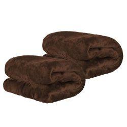 Kit de Cobertores Casal Manta Microfibra Fleece 02 Peça - Tabaco