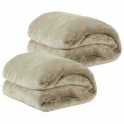 Kit de Cobertores Casal Padrão Manta de Microfibra 02 Peças (Toque Aveludado) - Caqui