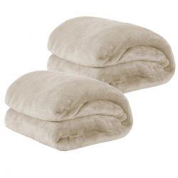 Kit de Cobertores Casal Padrão Manta de Microfibra 02 Peças (Toque Aveludado) - Palha