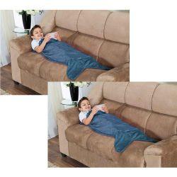 Kit de Cobertores Infantis Calda de Tubarão Saco de Dormir 02 Peças (Toque Aveludado) - Azul