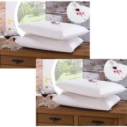Kit de Fronhas Impermeáveis Bia para Travesseiro 70cm x 50cm 04 Peças Com Zíper - Branco