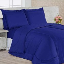 Kit Edredom Dupla Face Queen Confortable + Jogo de Lençol - 06 Peças - Azul Royal