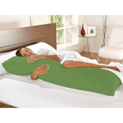 Kit Travesseiro de Corpo + Fronha Mega 02 Peças 100% Algodão - Verde Oliva