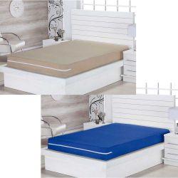 Kit de Capas para Colchão Queen Lipe 02 Peça Com Zíper Tecido Microfibra - Bege/Azul Royal