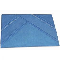 Lençol de Cama com Elástico Casal Queen 03 Peças com 02 Fronhas 100% Algodão Liso - Azul