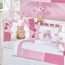 Kit Berço 9 Peças Americano c/ Mosquiteiro - Coleção Mamãe Ursa Baby- 100% Algodão