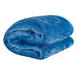 Kit de Cobertores Casal Padrão Manta de Microfibra 02 Peças (Toque Aveludado) - Azul