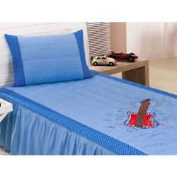 Colcha Solteiro Milano 02 Peças com Porta Travesseiro tema Guitarra - Azul