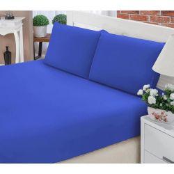 Jogo de Lençol Casal Padrão Liso Pati 03 Peças Tecido Microfibra - Azul Royal