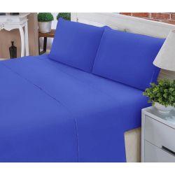 Jogo de Lençol Casal Padrão Liso Pati 04 Peças Tecido Microfibra - Azul Royal