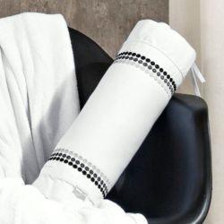Rolinho Decorativo Dijon 100% Algodão 200 Fios 01 Peça Bordada - Branco/Preto