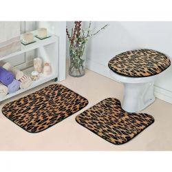 Jogo de Banheiro Padrão Safari Tecido de Pelúcia 03 Peças - Onça