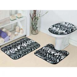 Jogo de Banheiro Padrão Safari Tecido de Pelúcia 03 Peças - Zebra