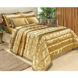 Cobre Leito Casal King Safari 05 Peças com Almofadas Tecido Cetim Charmousse - Dourado