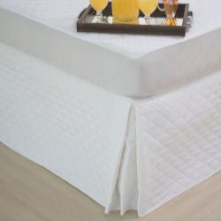Saia Box para Cama Solteiro Matelassê Ultrassônica - Branco