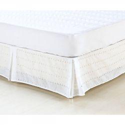 Saia Box para Cama Casal Padrão Supreme LayseTecido Misto - Branco