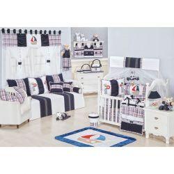 Coleção Completa para Quarto de Bebê Sailor 100% Algodão - 25 Peças