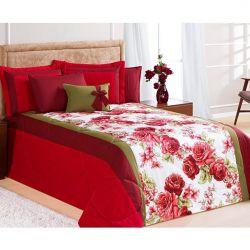 Kit Edredom Casal Queen Savana 6 Peças c/ Almofada e 4 Porta Travesseiros - Vermelho