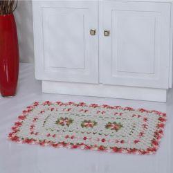 Tapete Florisbella 01 Peça Crochê 100% Algodão - Vermelho