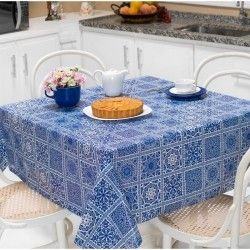 Toalha de Mesa Anti Térmica Retangular Estampada 2,00m x 1,40m - Azulejo