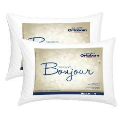 Kit Travesseiros 02 Peças Bonjour Fibra Siliconizada em Microfibra 70cm x 50cm - Ortobom