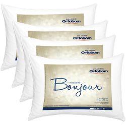 Kit Travesseiros 04 Peças Bonjour Fibra Siliconizada em Microfibra 70cm x 50cm - Ortobom