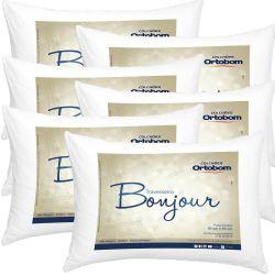 Kit Travesseiros 06 Peças Bonjour Fibra Siliconizada em Microfibra 70cm x 50cm - Ortobom