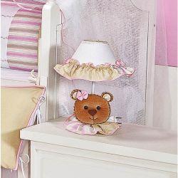 Abajur Enfeitado para Quarto Bebê Coleção Ursa Nina - Rosa