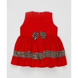 Vestido sem Manga Laço Feminino Vermelho com Onça Tecido Tricoline - Tamanho 2