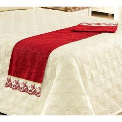 Peseira (Xale) Avulsa para Cama de Casal com Lese de Richilieu em Tecido Chenile - Vermelho
