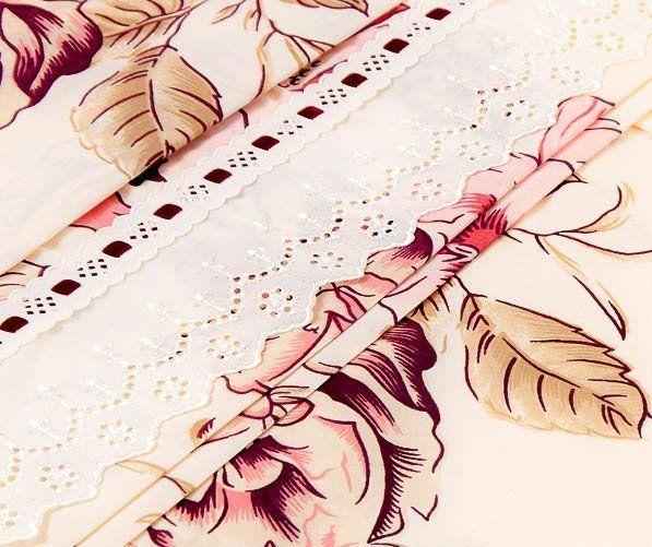 Lençol de Cama Avulso com Elástico Casal Queen 03 Peças com 02 Fronhas - 100% Algodão Estampado - Tabaco