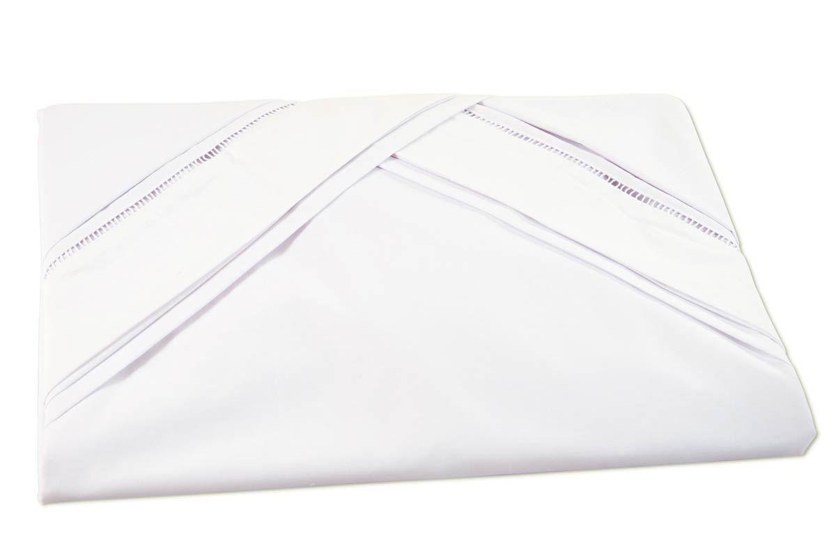Lençol de Cama Avulso com Elástico Casal Queen 03 Peças com 02 Fronhas - 100% Algodão Liso - Branco
