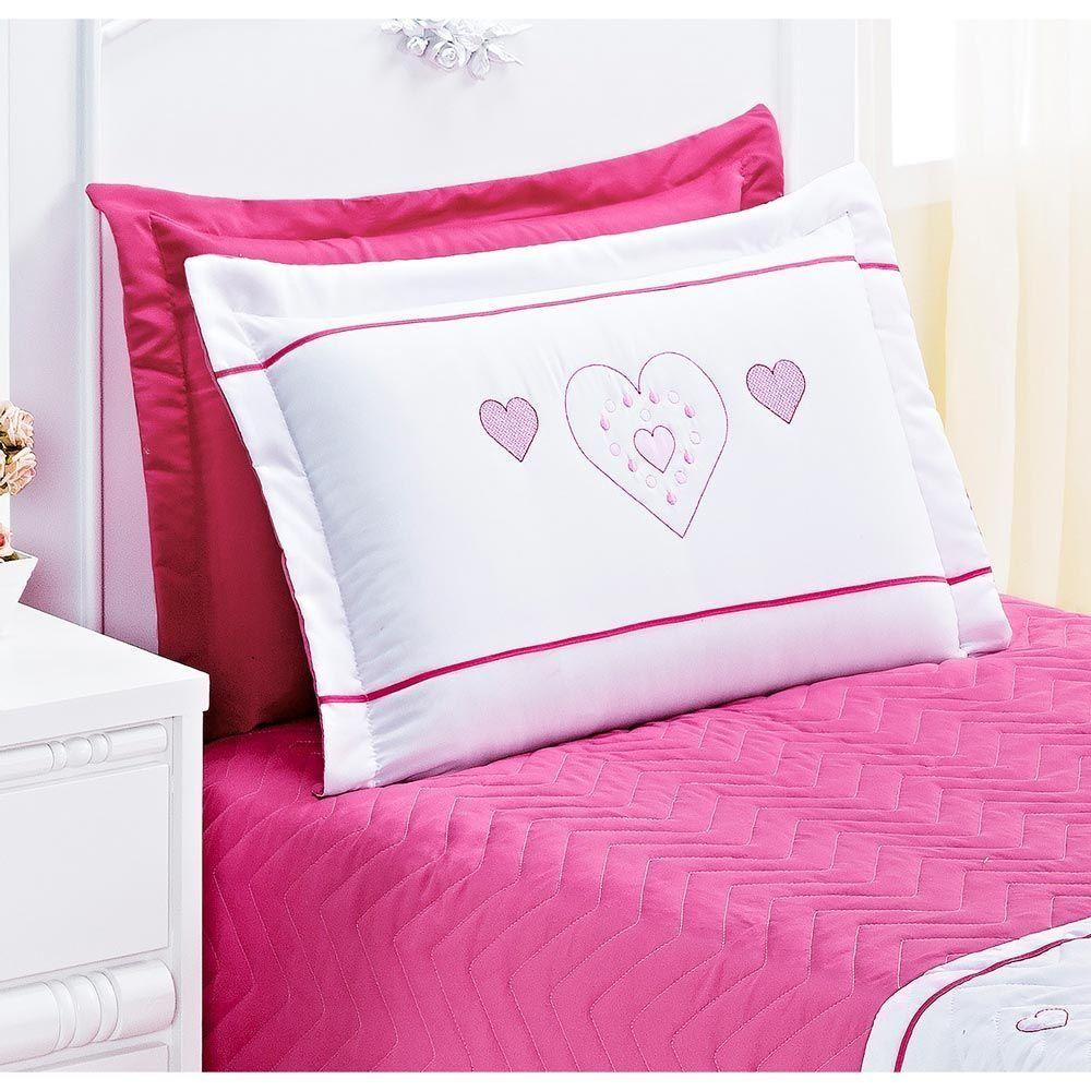 Cobre Leito Solteiro Amor 03 Peças Bordado de Coração - Pink
