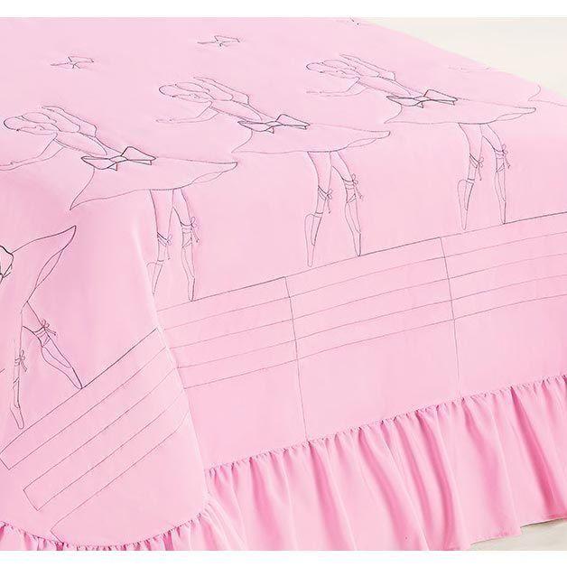 Colcha Solteiro Baila (Bailarina) 02 Peças c/ Porta Travesseiro - Rosa
