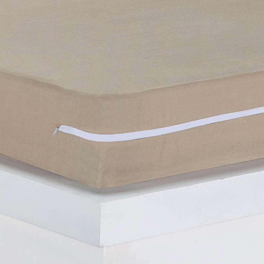 Capa para Colchão Queen Lipe 01 Peça 20cm Alt. Tecido Microfibra - Bege