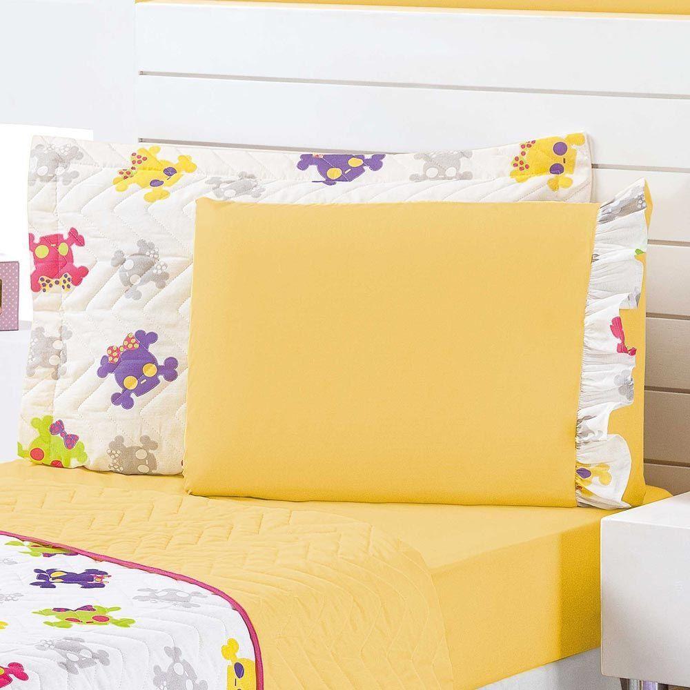 Cobre Leito Solteiro Kids Caveira Colorida Dupla Face 04 Peças com Lençol - Amarelo