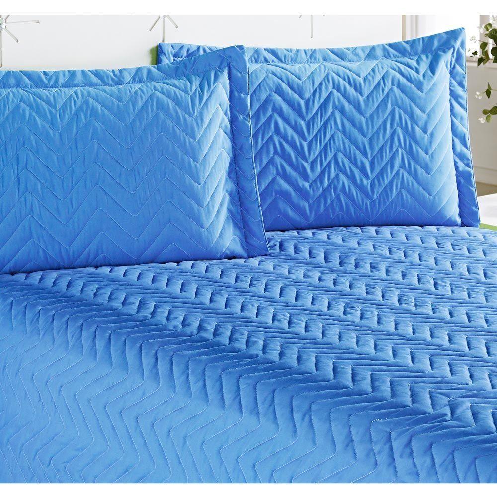 Cobre Leito Casal Padrão Clean 04 Peças com Lençol de Baixo - Azul