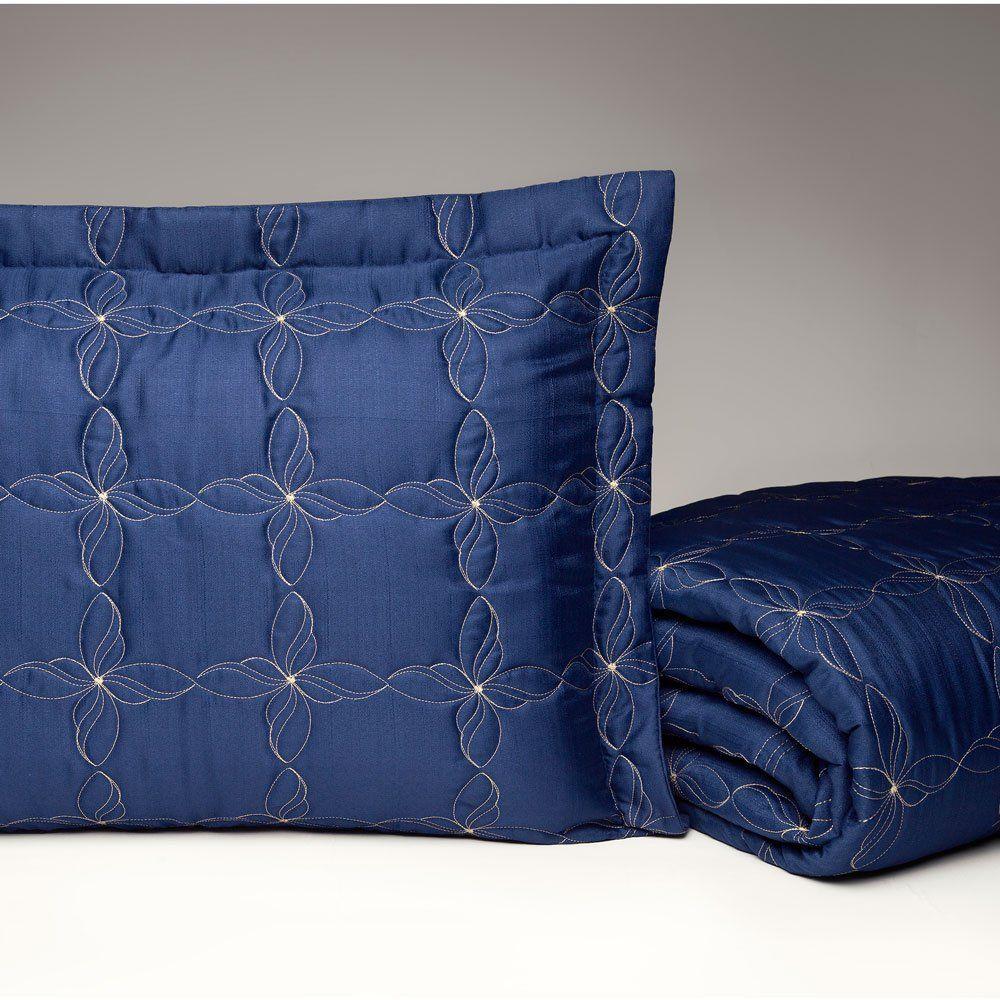 Cobre Leito Casal Queen Porcelana 03 Peças Tecido Capri - Azul
