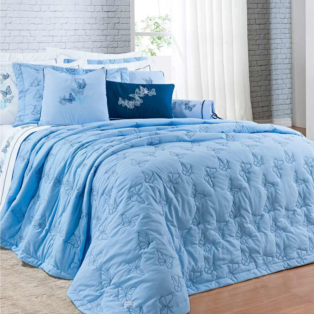 Cobre Leito Queen Yandra Bordado 03 Peças 100% Algodão 200 Fios - Azul