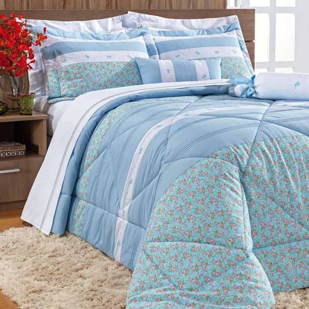 6f1332641 Colcha Queen Natalie 05 Peças 100% Algodão Estampado - Azul Claro